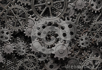 Many old rusty metal gears background