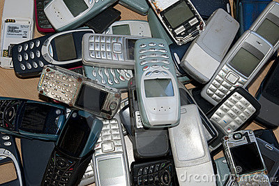 Many old and very used mobile phones