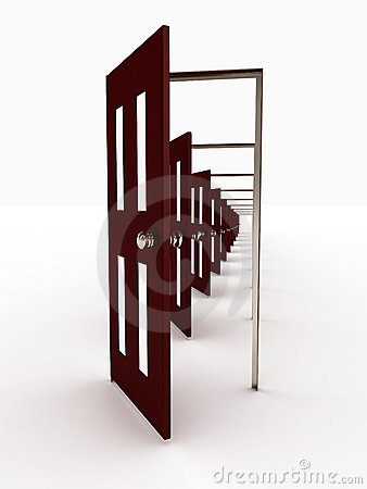 Many open doors. 3D image