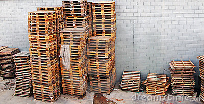 Many pallets stacked