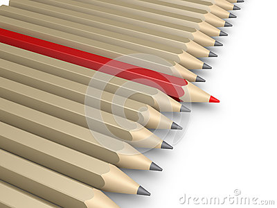 Many pencils and one more forward as the leader