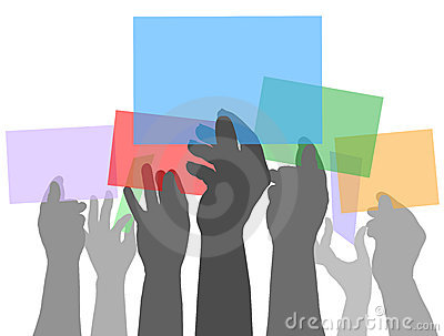 Many people hands holding color spaces