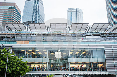 Many people queueing for the new iPhone6s. Editorial Stock Photo