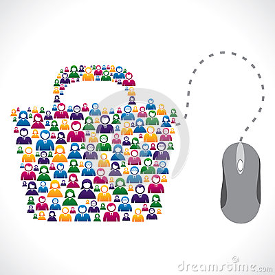 Many people shop on-line stock vector concept