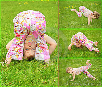 Many pictures of girl on grass, collage