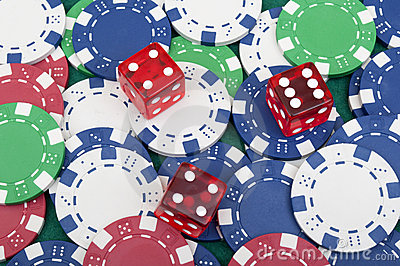 Many poker chips and dice