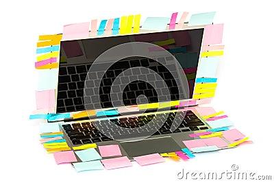 Many Post-it stick on laptop