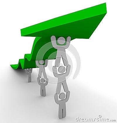 Free Many Pushing Up Green Arrow Stock Image - 7074551