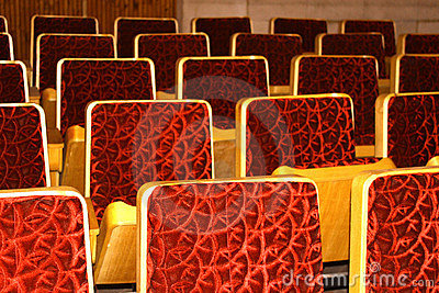 Many red chairs