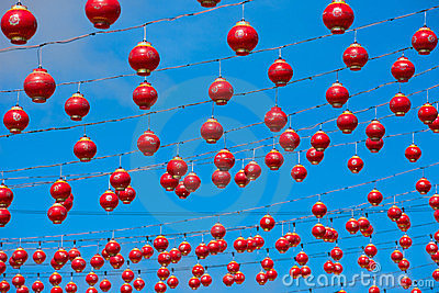Many red Chinese lanterns