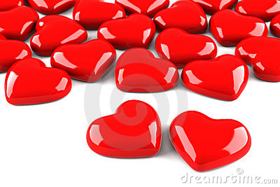 Many red hearts isolated on white