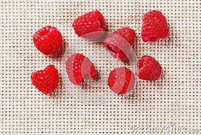 Many red ripe raspberry fruit, on gray linen