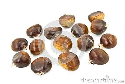 Many ripe chestnuts - isolated on white background