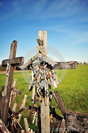 Many rosaries at the Hill of Crosses