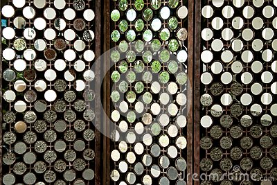 Many round mirrors on wood