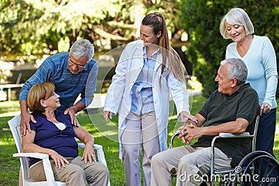 Many seniors in park of nursing
