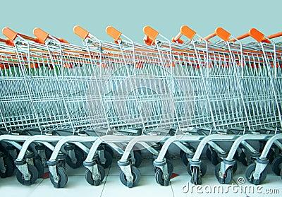 Many shopping trolley