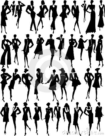 Many silhouettes of woman