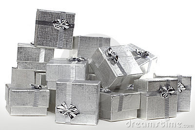 Many silver gifts in a pile