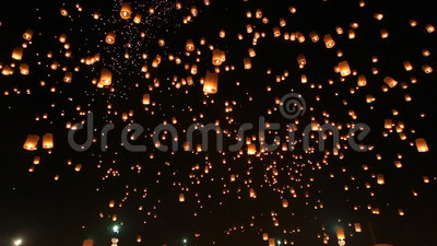 Many Sky Lanterns Floating In Loi Krathong Festival Of Chiang Mai Thailand 2014. Many Sky Lanterns Floating In Loi Krathong Festival Of ChiangMai Thailand 2014