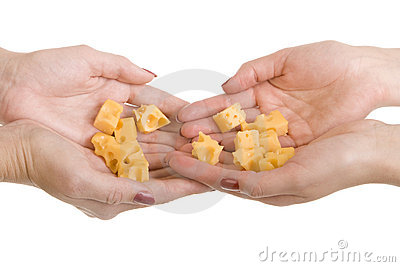 Many slices cheese on a palms