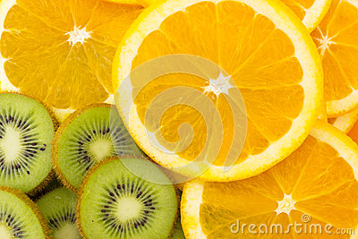Many slices of kiwi fruit and orange fruit, Fresh Stock Photo