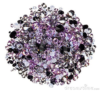 Many small purple diamonds heap isolated on white