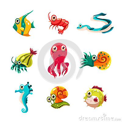 Free Many Species Of Fish And Marine Animal Life Stock Images - 58894474