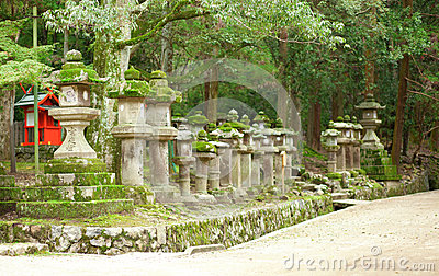 Many stone lanterns in Kasuga shrine in Nara