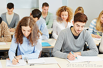 Students in lecture in university