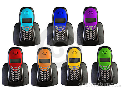 Many telephones in color of rainbow, collage