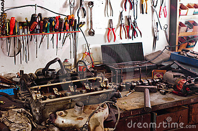Many tools in a workshop
