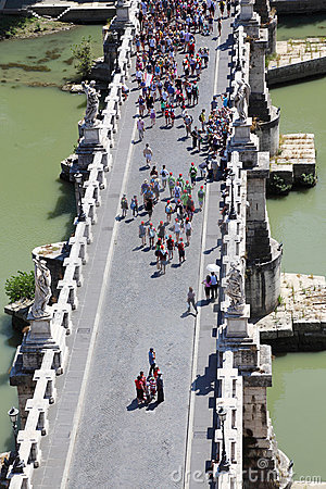 Many tourists on Sant  Angelo Bridge at summer