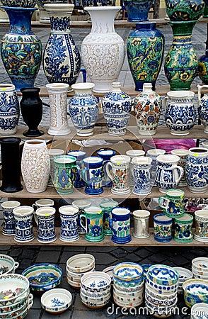 Many traditional romanian pottery