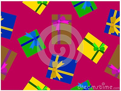 The various colors gift boxes.It's seamless wallpaper. Vector Illustration
