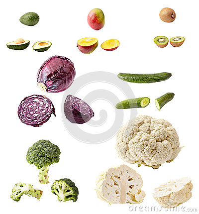 Many vegetables and fruits isolated on white