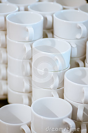 Many white mugs