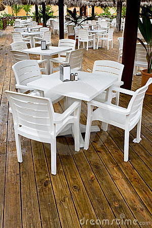 Free Many White Plastic Chairs And Tables Stock Photo - 11261110