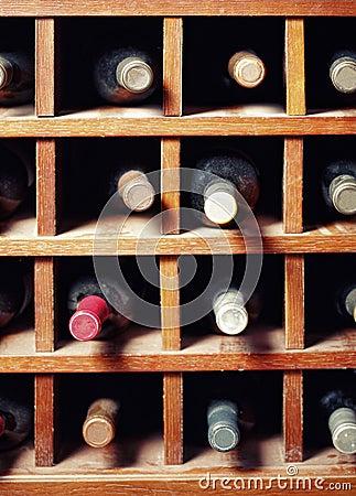 Many wine bottles