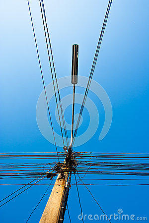 The Electricity Post And An Electric Line Royalty Free Stock ...