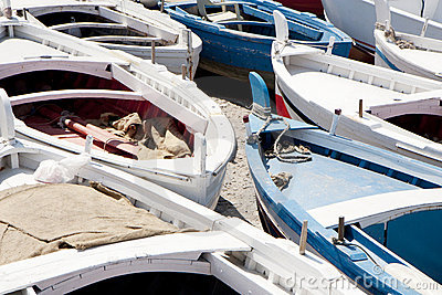 Many wooden boats