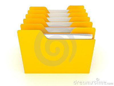 Many yellow office data folders on white