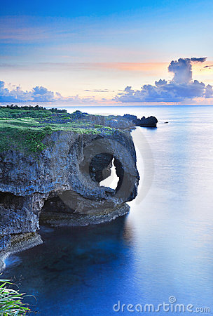 Manzamo in Okinawa at sunset