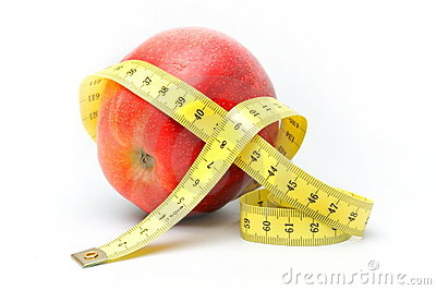 Manzana roja y centímetro