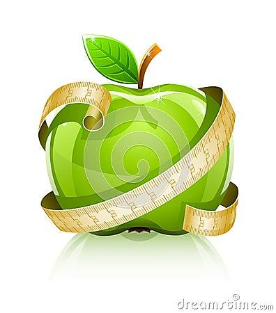 Manzana verde de cristal brillante con la línea de medición