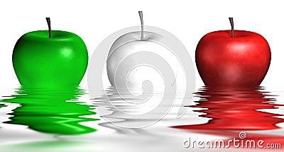 Manzanas italianas en el agua