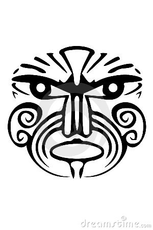A tribal black Maori face tattoo. Keywords: