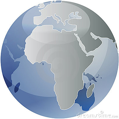 Map of Africa on globe