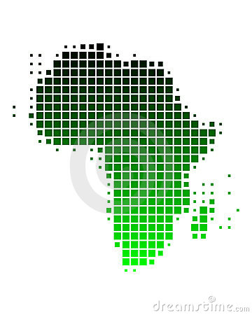 Map of Africa in green squares