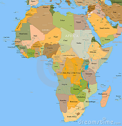Free Map Africa - Vector - Detailed Royalty Free Stock Photography - 21126167